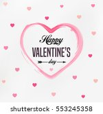 Happy Valentines Day card, typography, background with hearts | Shutterstock vector #553245358