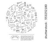 hand drawn doodle nail salon... | Shutterstock .eps vector #553252180