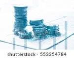 double exposure of set coin on... | Shutterstock . vector #553254784
