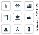 set of 9 simple construction... | Shutterstock .eps vector #553256350