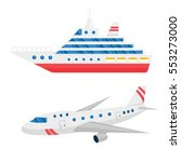 ship cargo and airline avia... | Shutterstock .eps vector #553273000