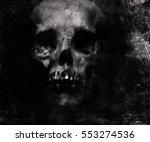 scary grunge skull wallpaper.... | Shutterstock . vector #553274536