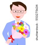 the man who is given a bouquet. | Shutterstock .eps vector #553275634
