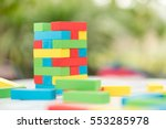 colorful wood blocks stack game ... | Shutterstock . vector #553285978