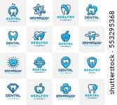 vector dental tooth logo badge... | Shutterstock .eps vector #553295368
