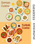 german and turkish cuisine icon ... | Shutterstock .eps vector #553309393