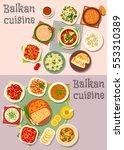 balkan cuisine icon set with... | Shutterstock .eps vector #553310389