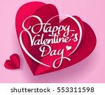 paper art of happy valentines... | Shutterstock .eps vector #553311598