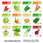 vegetable label and tag set.... | Shutterstock .eps vector #553312270
