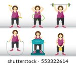 collection of fitness woman...   Shutterstock .eps vector #553322614