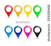 set of colorful map markers | Shutterstock .eps vector #553350400