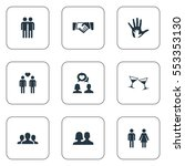 set of 9 simple friends icons.... | Shutterstock .eps vector #553353130