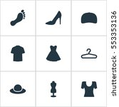 set of 9 simple dress icons.... | Shutterstock .eps vector #553353136
