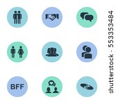 set of 9 simple buddies icons....   Shutterstock .eps vector #553353484