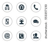 set of 9 simple connect icons.... | Shutterstock .eps vector #553357150