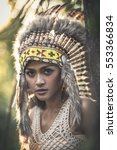 beautiful boho girl. | Shutterstock . vector #553366834