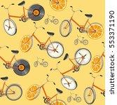 seamless pattern. cute retro... | Shutterstock .eps vector #553371190