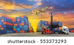 industrial container yard for... | Shutterstock . vector #553373293