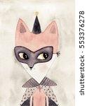 carnival fox watercolor drawing | Shutterstock . vector #553376278