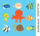 cute ocean and marine animals... | Shutterstock .eps vector #553379710