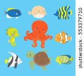 cute ocean and marine animals... | Shutterstock .eps vector #553379710