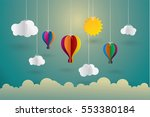 hot air balloon and cloud   the ... | Shutterstock .eps vector #553380184