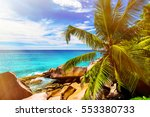 tropical island. the seychelles.... | Shutterstock . vector #553380733