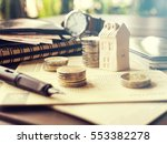mortgage concept by money house ... | Shutterstock . vector #553382278