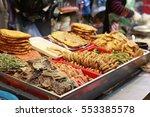 korean food   korean pancake or ...   Shutterstock . vector #553385578