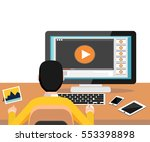 watching video on computer.... | Shutterstock .eps vector #553398898