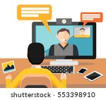 web camera  video call  online... | Shutterstock .eps vector #553398910