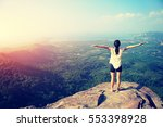 young freedom woman open arms...   Shutterstock . vector #553398928