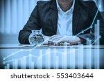 double exposure of businessman... | Shutterstock . vector #553403644