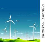 wind farm in green fields on... | Shutterstock .eps vector #553420264
