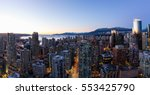 Stock photo aerial panoramic view of downtown vancouver bc canada taken during a clear sky winter sunset 553425790