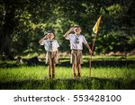 boy scout making an oath  asia | Shutterstock . vector #553428100