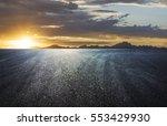sunset asphalt asphalt tire... | Shutterstock . vector #553429930