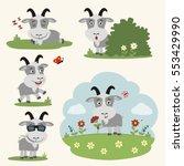 vector set goat in different... | Shutterstock .eps vector #553429990