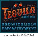 tequila typeface. vector hand... | Shutterstock .eps vector #553439464