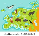european map with wildlife... | Shutterstock .eps vector #553442374