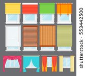 detailed window set isolated... | Shutterstock .eps vector #553442500