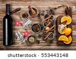 mulled wine with ingredients   Shutterstock . vector #553443148