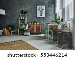 room with decorative grey wall... | Shutterstock . vector #553446214