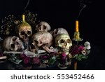 Pile Of Skulls With Bone And...