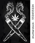 two crossed smoking weed joints ... | Shutterstock .eps vector #553455334