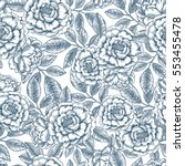 floral seamless pattern. linear ... | Shutterstock .eps vector #553455478