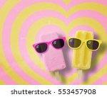 couple ice cream stick wearing... | Shutterstock . vector #553457908