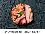 flat lay of italian cold meat... | Shutterstock . vector #553458754