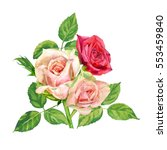 bouquet of roses  pink and red... | Shutterstock . vector #553459840