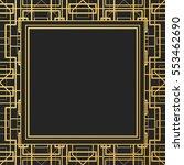 art deco style frame  golden... | Shutterstock .eps vector #553462690